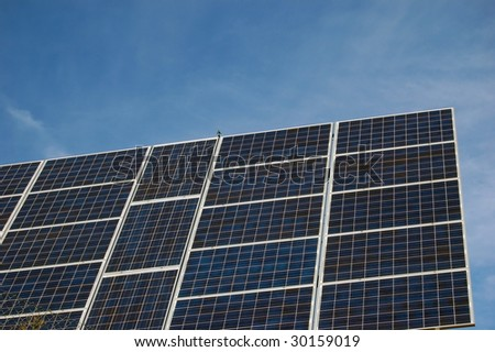 Solar power with photovoltaic panels - stock photo