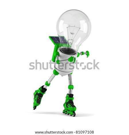 solar powered light bulb robot - roller skating - stock photo