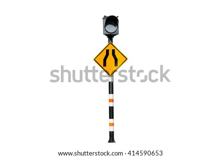 Solar powered traffic signs,Road narrows sign  isolated on white background - stock photo