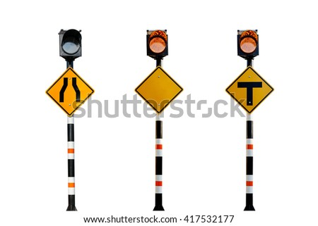Solar powered traffic signs , traffic signs on white background - stock photo