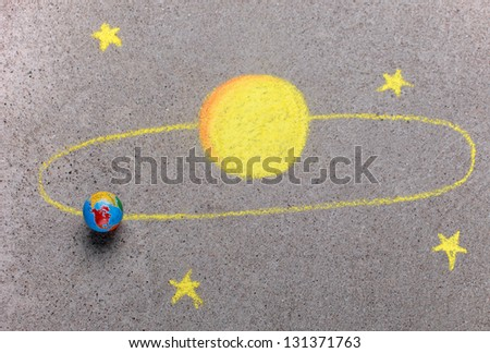 Solar system drawn with chalk - stock photo