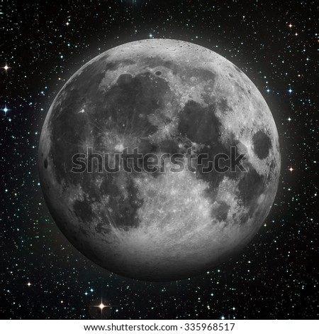 Solar System - Earths Moon. The Moon is Earth's only natural satellite. It is one of the largest natural satellites in the Solar System. Elements of this image furnished by NASA. - stock photo