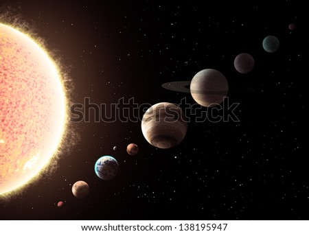 Solar system. Elements of this image furnished by NASA - stock photo