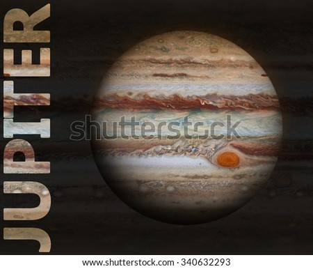 Solar System - Jupiter. It is the fifth planet from the Sun and the largest in the Solar System. Its a giant planet with a mass one-thousandth that of the Sun. Elements of this image furnished by NASA - stock photo