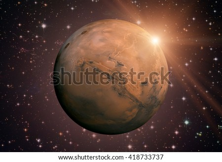 Solar System - Mars. It is the fourth planet from the Sun. Mars is a terrestrial planet with a thin atmosphere, having craters, volcanoes, valleys, deserts. Elements of this image furnished by NASA - stock photo
