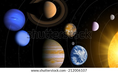 Solar system mosaic - Planets and Sun with path lines. Elements of this image furnished by NASA.  - stock photo