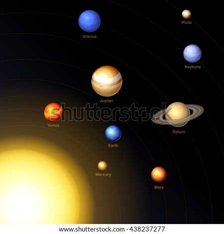 Solar System with Sun and Planets on Dark Background.  - stock photo