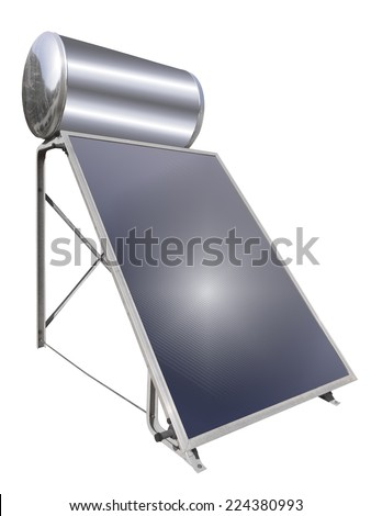 Solar water heater, isolated - stock photo