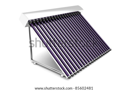 Solar water heater on white background - stock photo