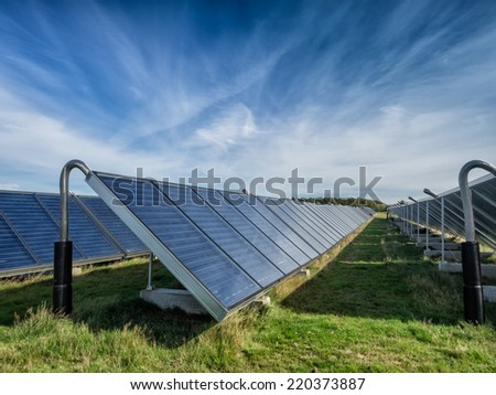 Solar water heating system in great scale - stock photo