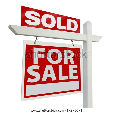Sold Home For Sale Real Estate Sign Isolated on a White Background. - stock photo