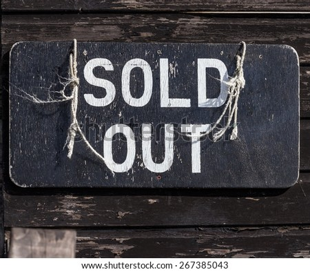 Sold Out Sign - stock photo