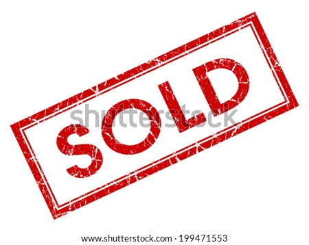 Sold red square grungy stamp isolated on white background - stock photo
