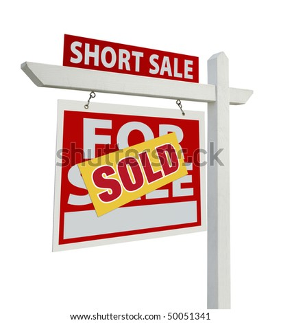 Sold Short Sale Home For Sale Real Estate Sign Isolated on a White Background with Clipping Paths - Left Facing. - stock photo