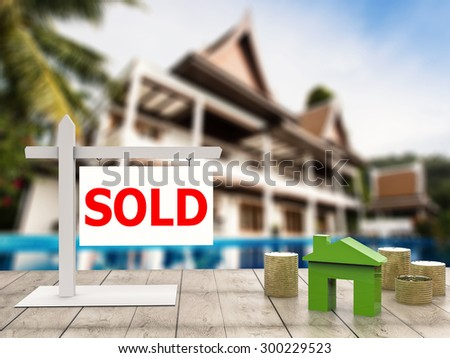 sold sign at luxury house with pool background - stock photo