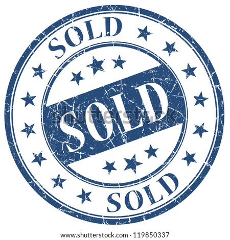Sold stamp - stock photo