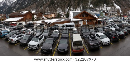 SOLDEN, AUSTRIA, 2015 JANUARY outdoor parking at the ski resort , SOLDEN, AUSTRIA, 2015 JANUARY - stock photo