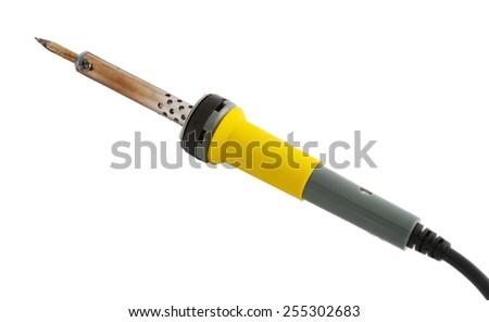 Soldering-iron isolated on white - stock photo