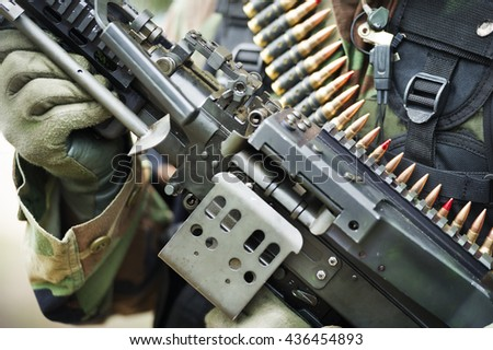 soldier and his waspon - stock photo