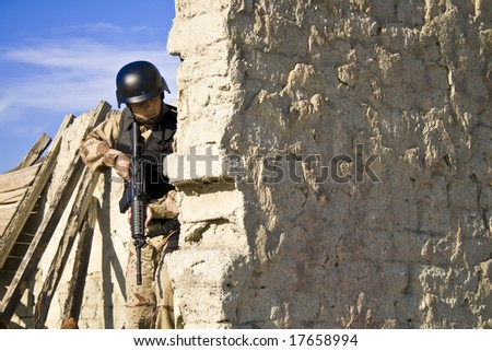 Soldier, gun, shot - stock photo