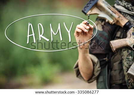 Soldier Hand writing text white marker on visual screen - stock photo