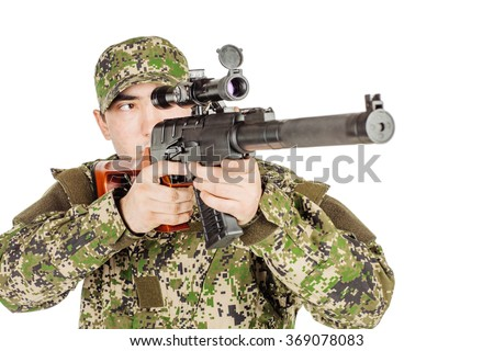 Soldier holding a russian sniper rifle. Training of soldiers firing weapon. Anti-Terrorism Unit - stock photo