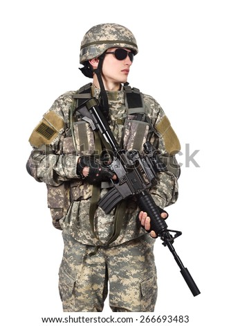 soldier holding his assault rifle isolation on white - stock photo