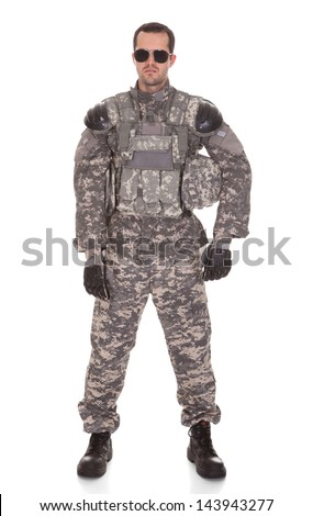Soldier Holding Rifle Isolated Over White Background - stock photo