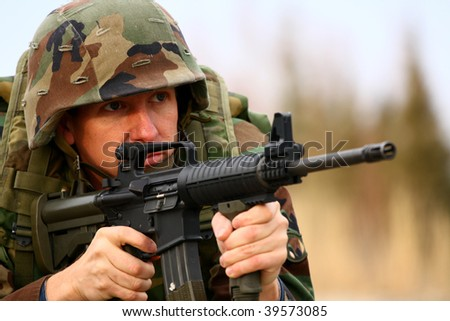soldier in a combat - stock photo
