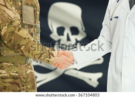Soldier in uniform and doctor shaking hands with flag on background - Jolly Roger - symbol of piracy - stock photo