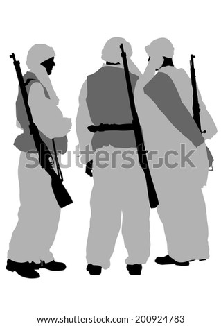 Soldier in uniform with gun on white background - stock photo
