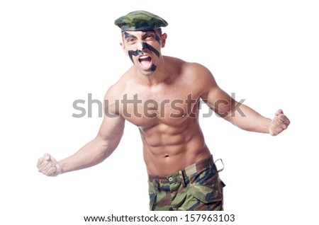 Soldier isolated on the white background - stock photo
