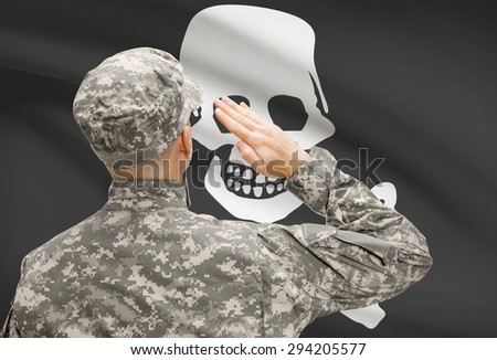 Soldier saluting to USA state flag conceptual series - Jolly Roger - stock photo