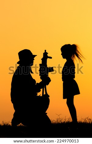 Soldier Silhouette - stock photo