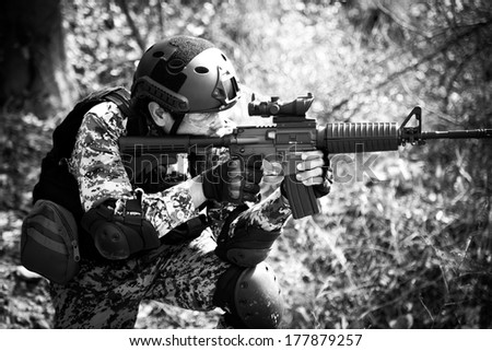 soldier training gun tactic black and white color - stock photo