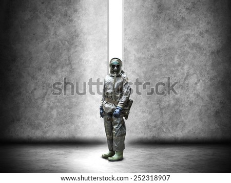 Soldier wearing a gas mask in disaster war and military concept - stock photo