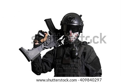 Soldier wearing black suit with a G36K isolated - stock photo