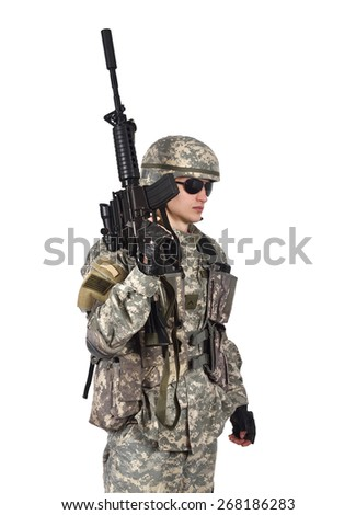 soldier with rifle isolation on white background - stock photo