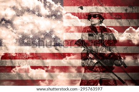 soldier with rifle on a usa flag background, double exposure - stock photo