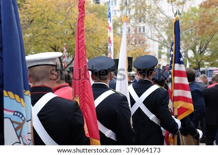 Soldiers carrying colors  - stock photo