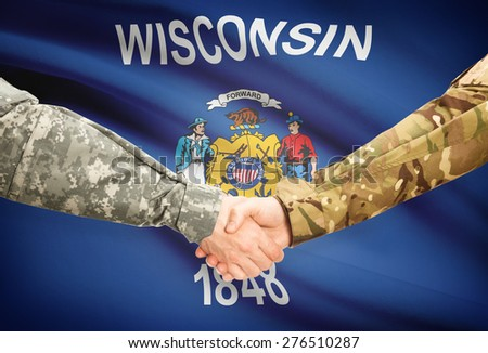 Soldiers handshake and US state flag - Wisconsin - stock photo