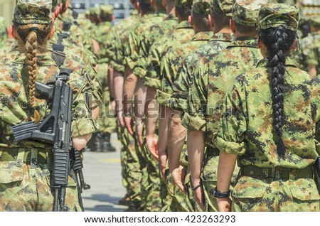 Soldiers in array - stock photo