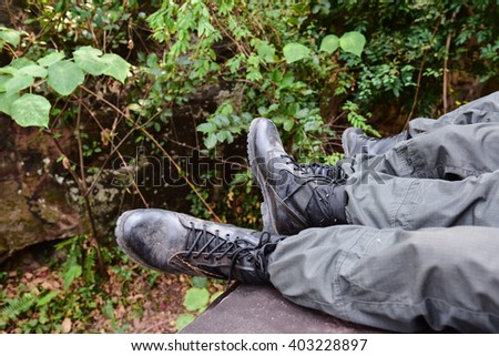 Soldiers in the forest, Thailand - stock photo