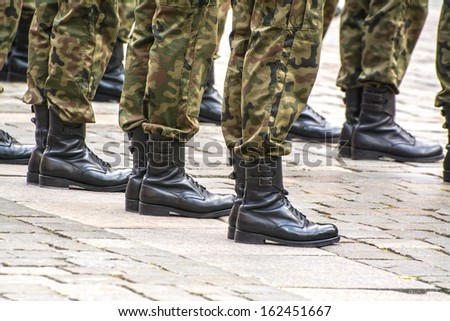 Soldiers march in formation (Motion Blur)  - stock photo