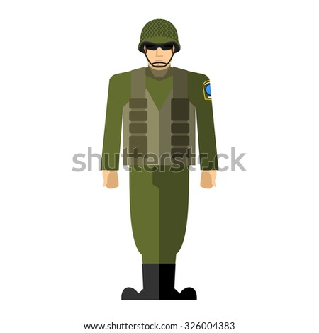 Soldiers. Military man. Army clothing, full of ammunition: helmet and body armor.  - stock photo