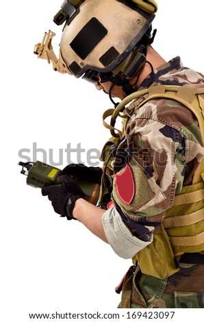 soldiers were using walkie talkies, isolated on white background - stock photo