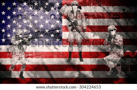 soldiers with rifle on a usa flag background, double exposure - stock photo