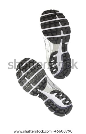 Sole of pair running shoes - stock photo