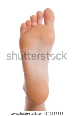 Sole of the female foot.Isolated - stock photo