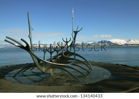Solfar (Sun Voyager) on Reykjavik's waterfront. The sculpture is inspired by the viking's ships. - stock photo
